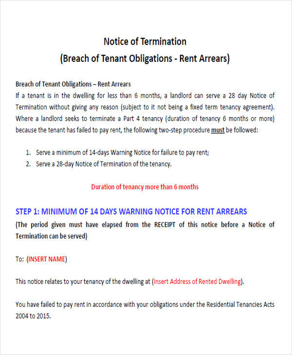 Rental Termination Notice Form for free notice template
