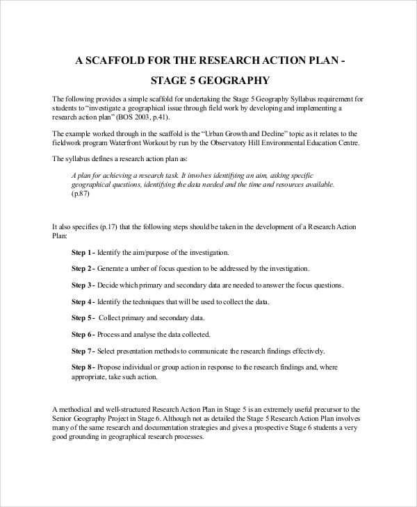 Research Action Plan Sample11 For Action Plan Format
