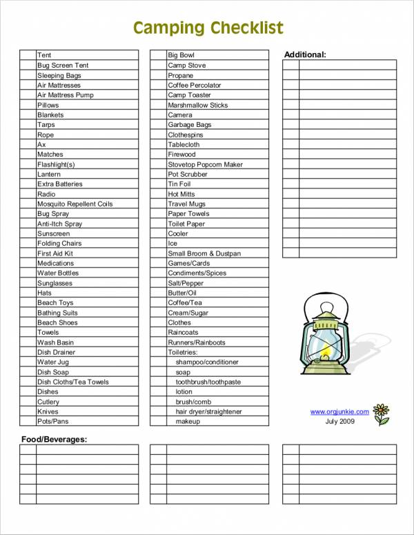 Sample Camping Checklist for camping checklist