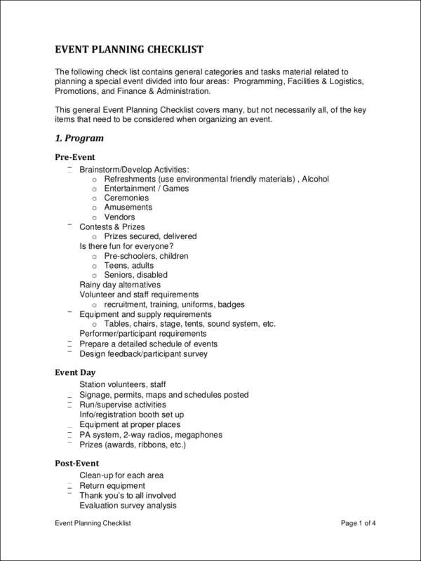 Sample EVENT PLANNING CHECKLIST for free checklist templates