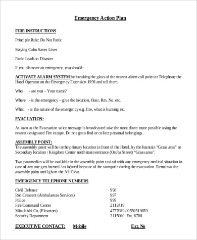 Sample Emergency Action Plan for Fire for Emergency Action Plan Sample
