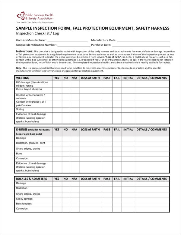 Sample Fall Equipment Inspection Checklist for equipment checklists