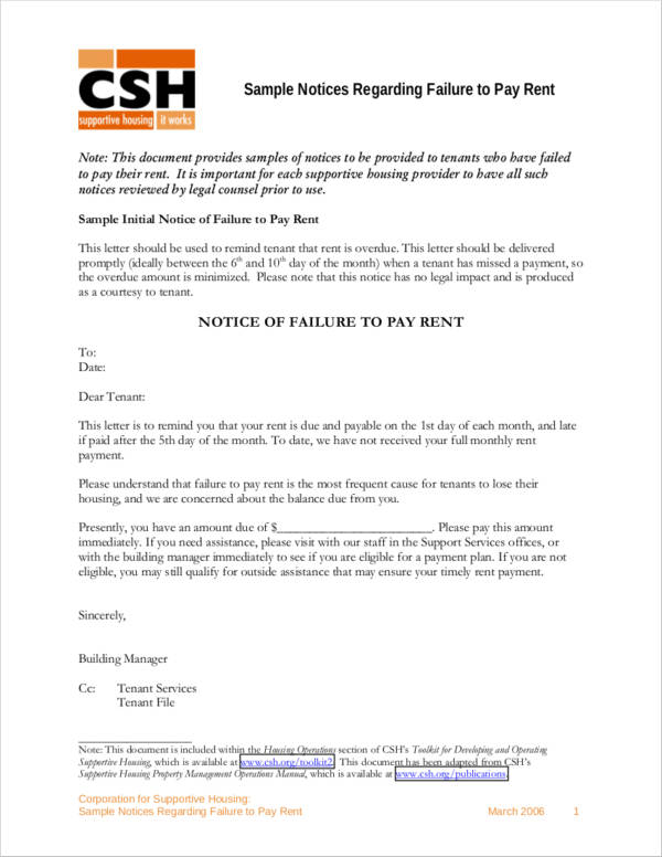 Sample Final Notice of Failure to Pay Rent for sample final notice template