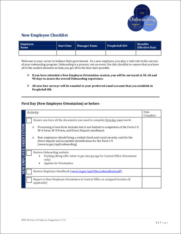 Sample New Employee Checklist for free checklist templates