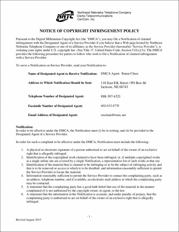 Sample Notice of Copyright Infringement Policy for notice copyright infringement