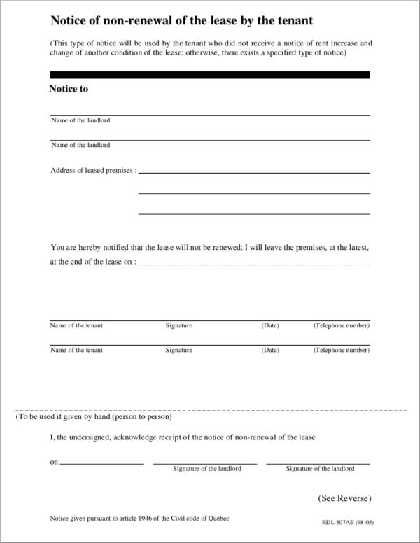 Sample Notice of Non renewal of the Lease by the Tenant for renewal notice sample