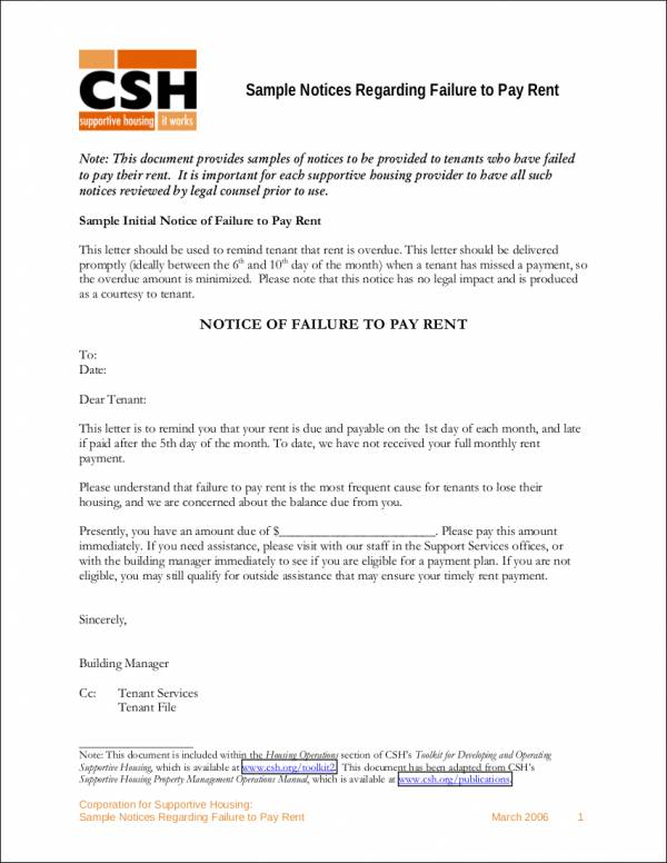 Sample Notices Regarding Failure to Pay Rent for free notice template