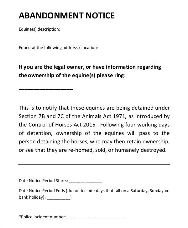 Sample Template for Notice of Abandonment for abandonment notice