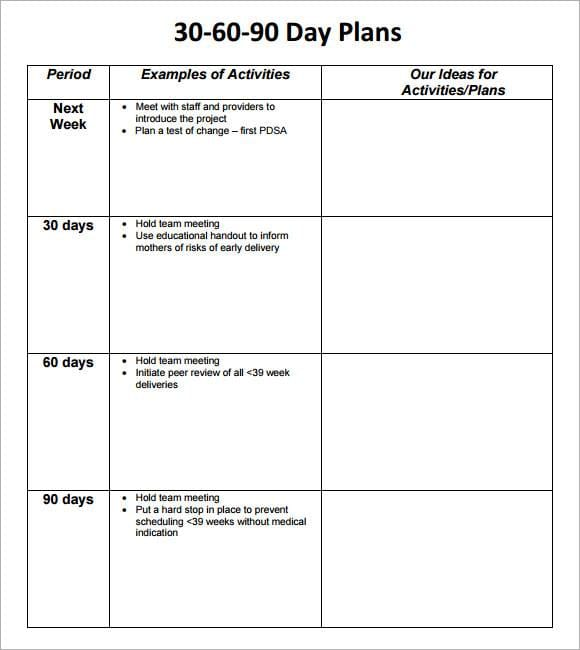 Simple 30 60 90 Day Action Plan Template for 30 60 90 Day Action Plan Template Pdf Word