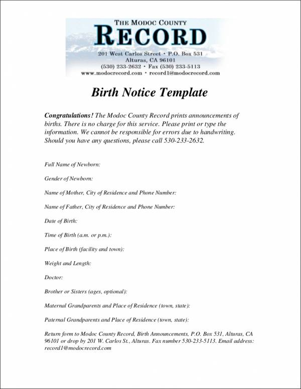 Simple Birth Notice Template for free notice template