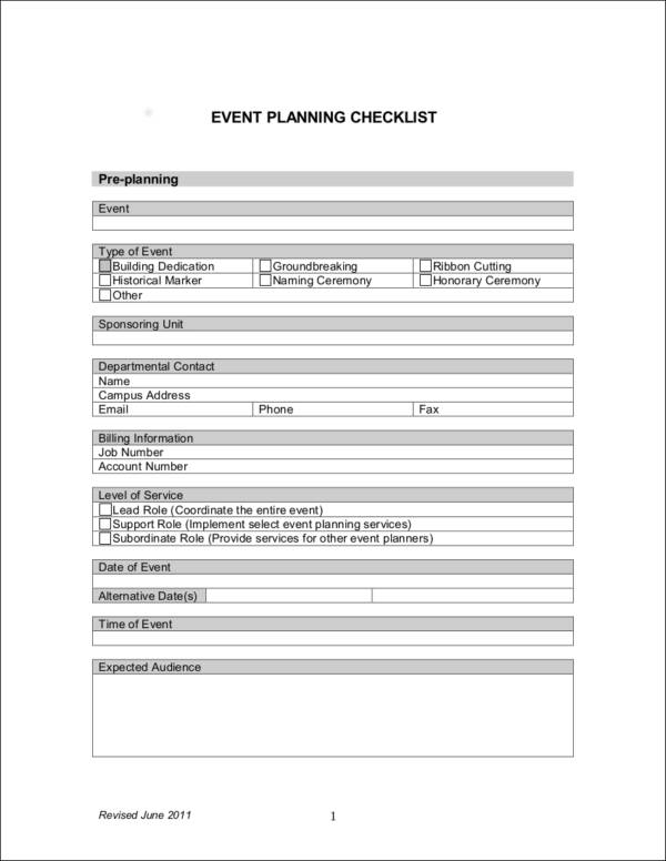 Simple EVENT PLANNING CHECKLIST for free checklist templates