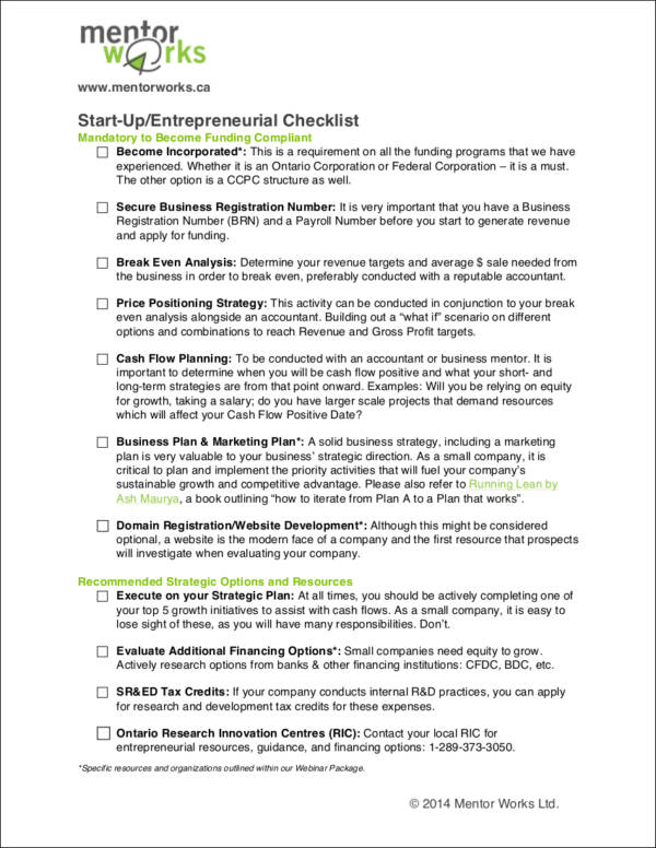 Start Up or Entrepreneurial Checklist for free checklist templates