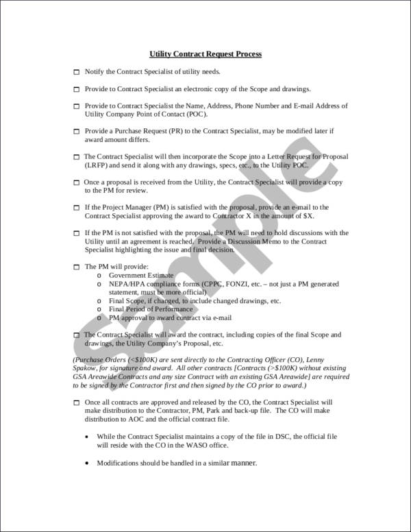 Utility Contract Request Checklist for sample checklist templates