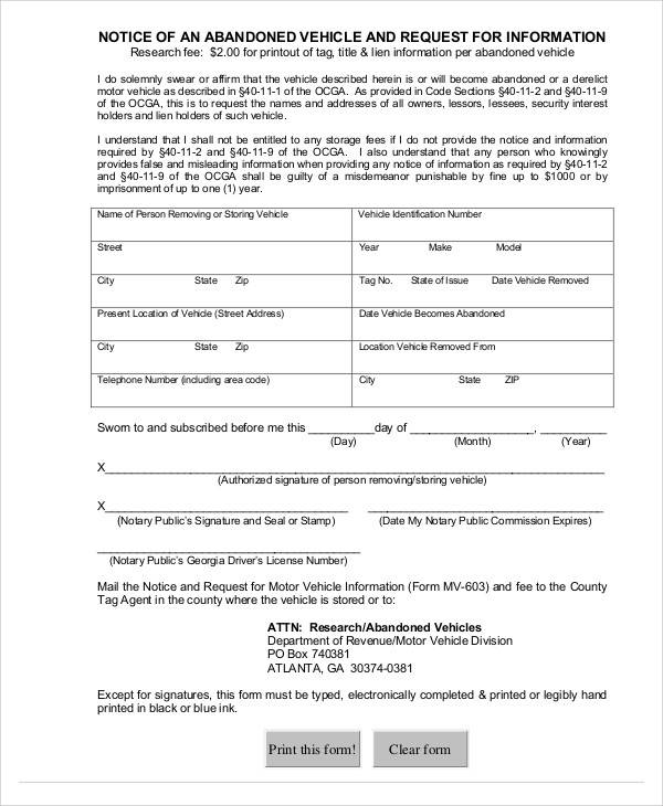 Vehicle Abandonment Notice Template for abandonment notice