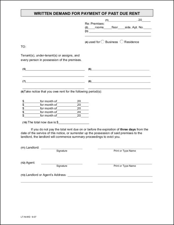 Written Payment Notice for Past Due Rent for free notice template