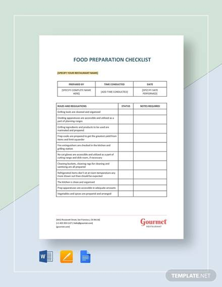 food preparation for word checklist templates