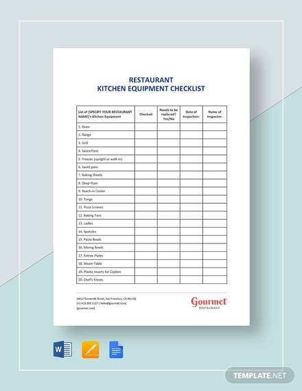 restaurant kitchen equipment for equipment checklists