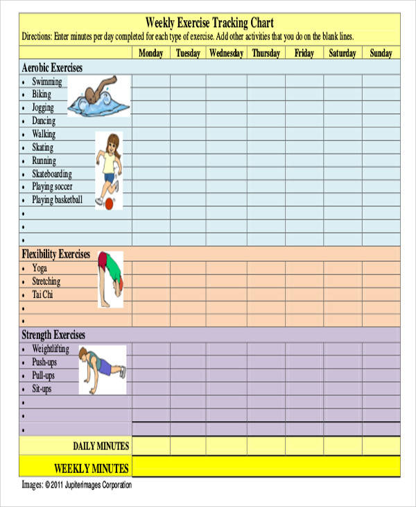 Chart for Exercise Tracking for exercise chart templates