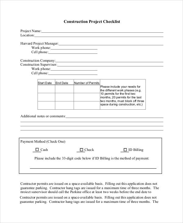 Construction Project Checklist for project checklist samples