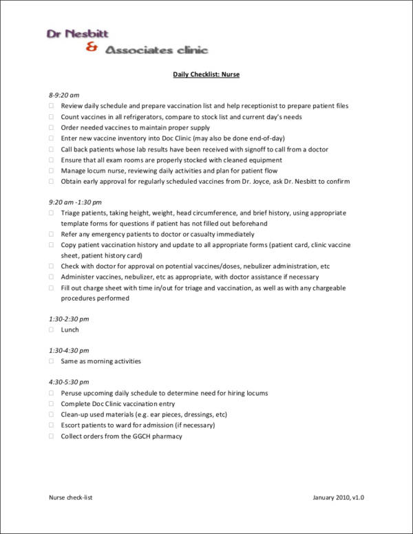 Daily Checklist for Different Professionals for task checklist template