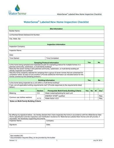 New Home Inspection Checklist for home inspection checklist samples