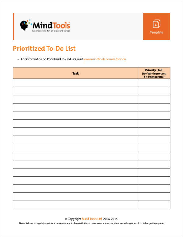 Prioritized Checklist Template for task checklist template