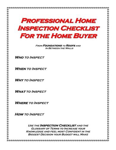 Professional Home Inspection Checklist Sample for home inspection checklist samples
