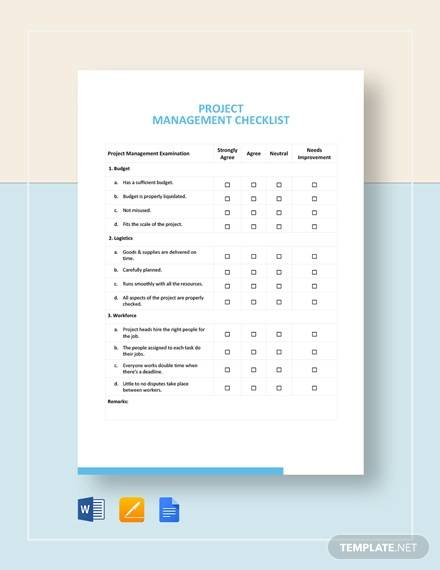Project Management Checklist Template for project checklist samples