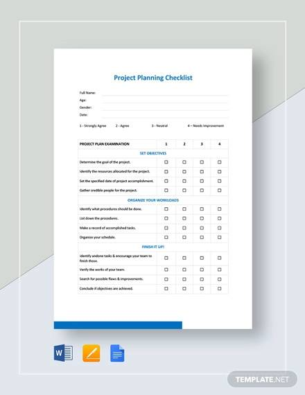 Project Planning Checklist Template for project checklist samples