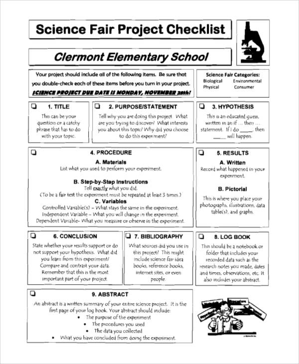 Science Fair Project Checklist Sample for project checklist samples