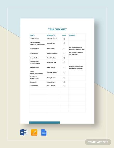 Task Checklist Template for task checklist template