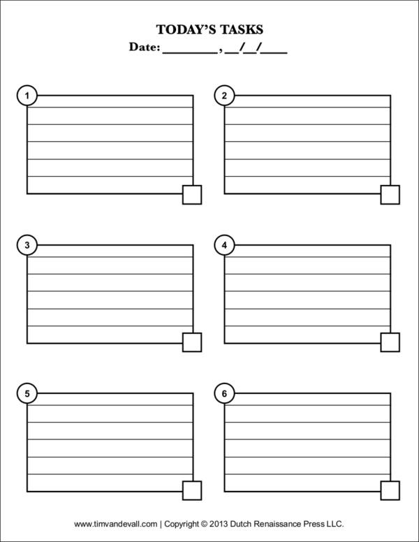 Todays Task Checklist Template for task checklist template