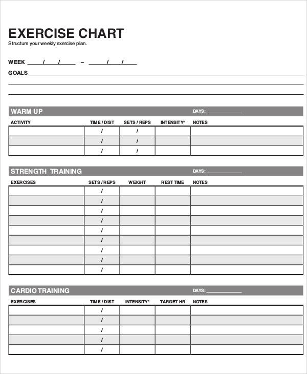 Weekly Exercise Chart for exercise chart templates