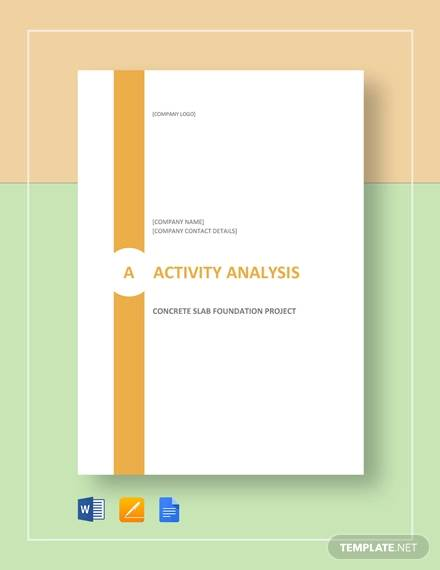 Activity Analysis Example for analysis sample