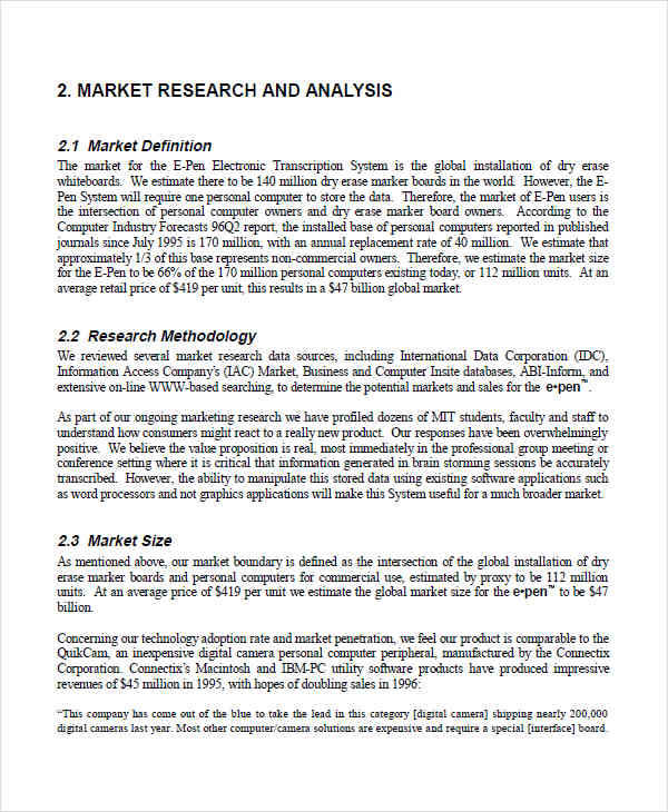 Market Research for analysis sample