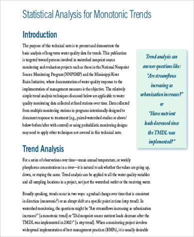 Statistical Trend Analysis for trend analysis