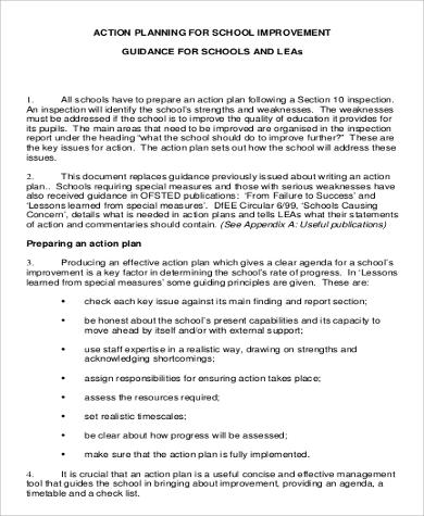 Action Plan for School Improvement for Business Action Plan
