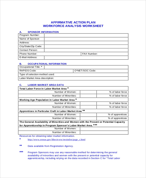 Affirmative Action Plan Workforce Analysis Worksheet for Action Plans