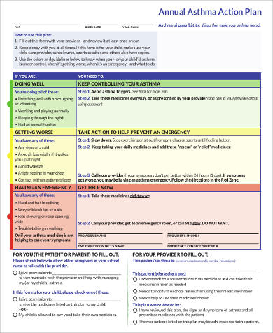 Annual Asthma Action Plan for Business Action Plan