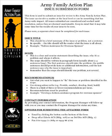 Army Family Action Plan for Business Action Plan