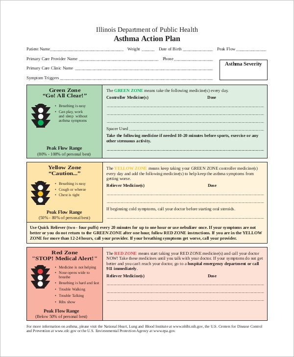 Asthma Action Plan Example for Asthma Action Plan