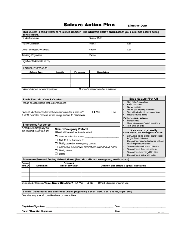 Blank Seizure Action Plan for Action Plans