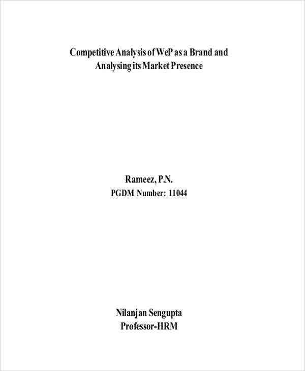 Brand Competitive Analysis for sample competitive analysis