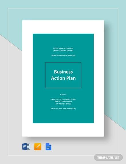 Business Action Plan Template for Example Of Action Plan