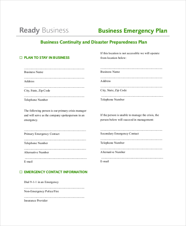 Business Emergency Action Plan for Action Plans