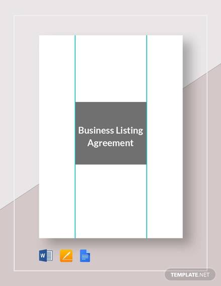 Business Listing Agreement Template for Business Listing Agreement