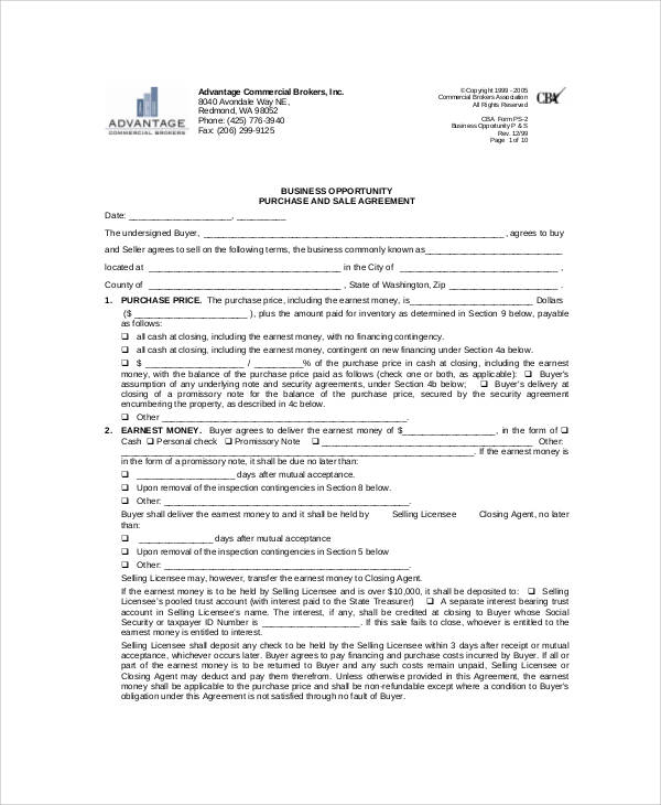 Business Opportunity Listing Agreement For Business Listing Agreement