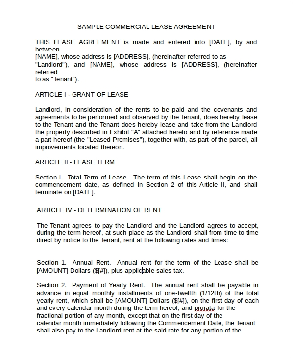 Business Rental Lease Agreement Form For Business Rental Agreement Template