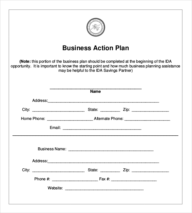Business Startup Action Plan for Example Of Action Plan