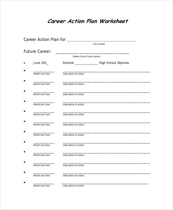 Career Action Plan Worksheet for Action Plans